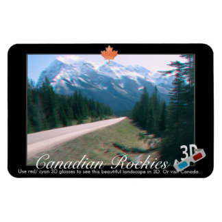 Rocky Mountains Canada 3D Red Cyan Anaglyph Photo Flexible Magnets