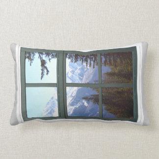 Rocky Mountains Canada Window View Throw Pillow