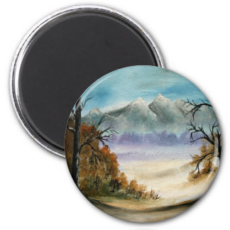 Rocky Mountains landscape oil painting 2 Inch Round Magnet