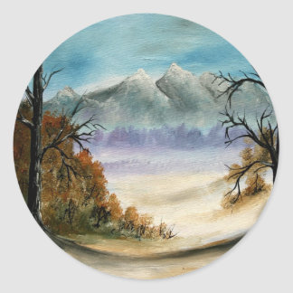 Rocky Mountains landscape oil painting Classic Round Sticker