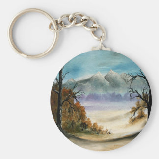 Rocky Mountains landscape oil painting Keychain