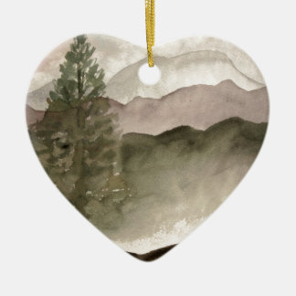 Rocky Mountains landscape painting Ceramic Ornament