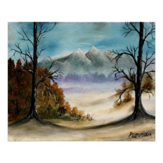 Rocky Mountains oil landscape painting Poster