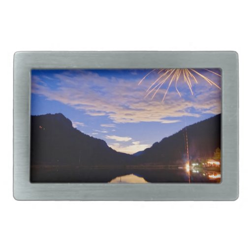 Rocky Mountains Private Fireworks Show Rectangular Belt Buckle