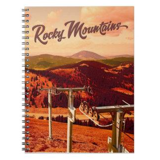 Rocky Mountains Travel Poster Art Notebooks