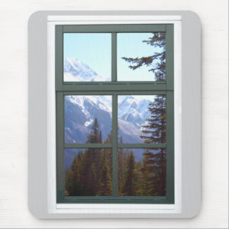 Rocky Mountains Window View Mouse Pad