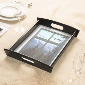 Rocky Mountains Window View Serving Trays