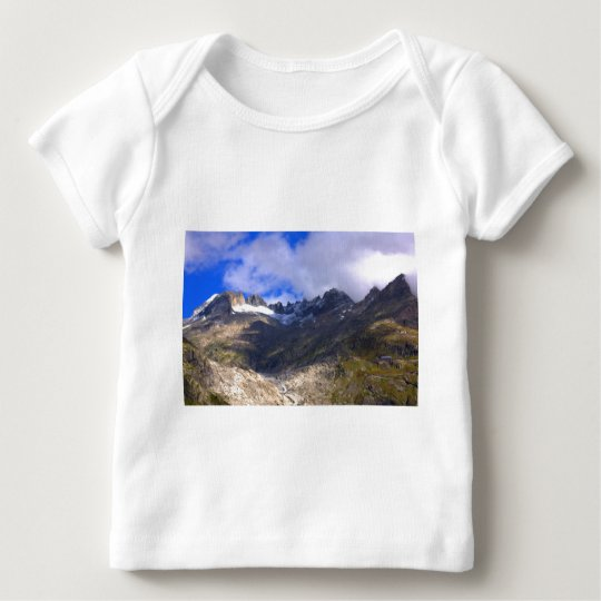 Rocky mountains with dried up glacier and snow baby T-Shirt