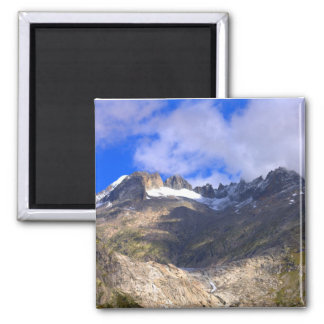 Rocky mountains with dried up glacier and snow magnet