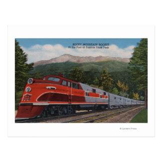 Rocky Mt. Rocket (Train), Pikes Peak, Colorado Postcard
