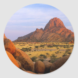 Rocky Outcrop And Plain, Spitzkoppe, Erongo Classic Round Sticker