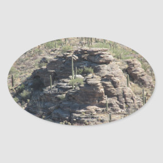 Rocky Outcropping in Tucson Oval Sticker