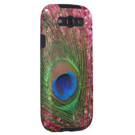 Rocky Pink Peacock Feather Samsung Galaxy SIII Cover