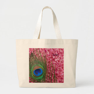 Rocky Pink Peacock Feather Large Tote Bag