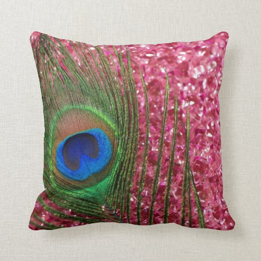 Rocky Pink Peacock Feather Still Life Pillow