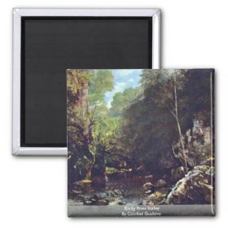 Rocky River Valley By Courbet Gustave 2 Inch Square Magnet