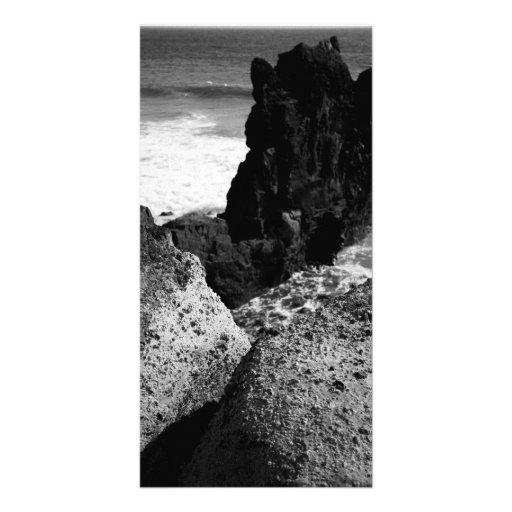 Rocky seascape customized photo card