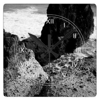 Rocky seascape square wall clock