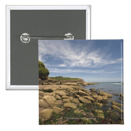 Rocky Seaside With Motorboat Traveling Pin