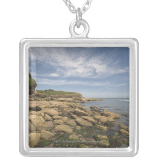 Rocky Seaside With Motorboat Traveling Silver Plated Necklace
