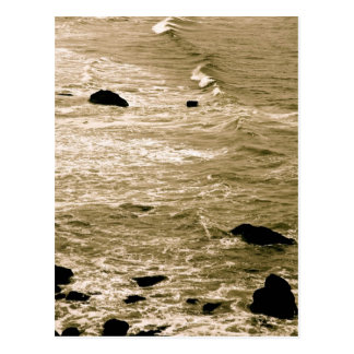 ROCKY SHORE AND WAVES IN SEPIA POSTCARD