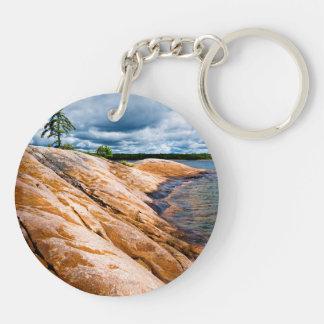 Rocky shore of Georgian Bay Double-Sided Round Acrylic Keychain