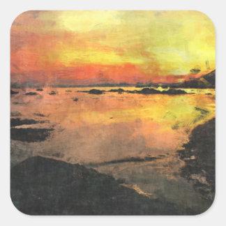 Rocky Shore Sunset Square Sticker