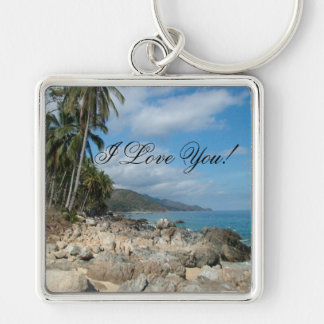Rocky Shore with Palm Trees; Sweet Nothings Keychain