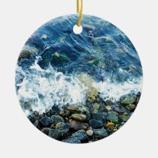 Rocky shoreline ceramic ornament