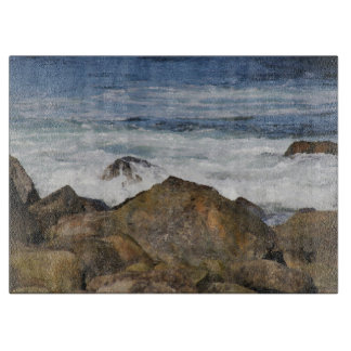 Rocky Shoreline Glass Cutting Board