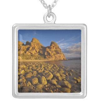 Rocky shoreline on Isla Carmen in the Gulf of Square Pendant Necklace