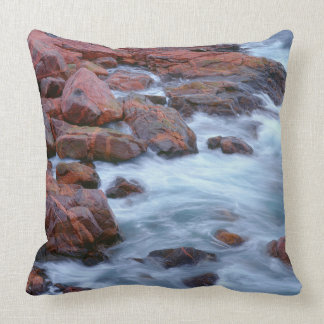 Rocky shoreline with water, Canada Throw Pillow