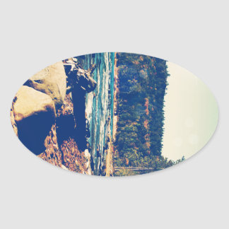 Rocky Shores of Lake Superior Oval Sticker