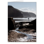 Rocky silhouettes at Perranporth Card