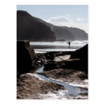 Rocky silhouettes at Perranporth Postcard