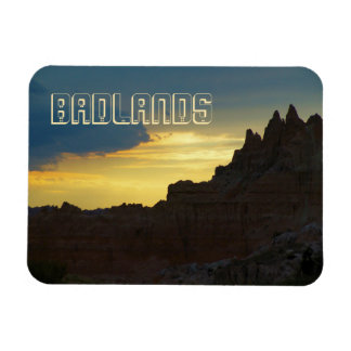 Rocky Silhouettes, Badlands National Park, Sunset Magnet
