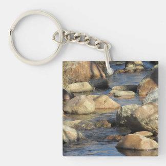 Rocky Stream Double-Sided Square Acrylic Keychain