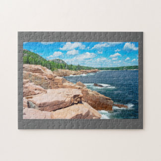 Rocky Summer Seascape Acadia National Park Maine Jigsaw Puzzle