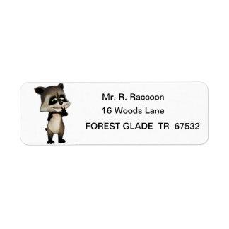 Rocky the Cute Cartoon Raccoon Label