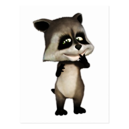 Rocky the Cute Cartoon Raccoon Postcard | Zazzle