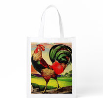 Rocky the Handsome Rooster Grocery Bag