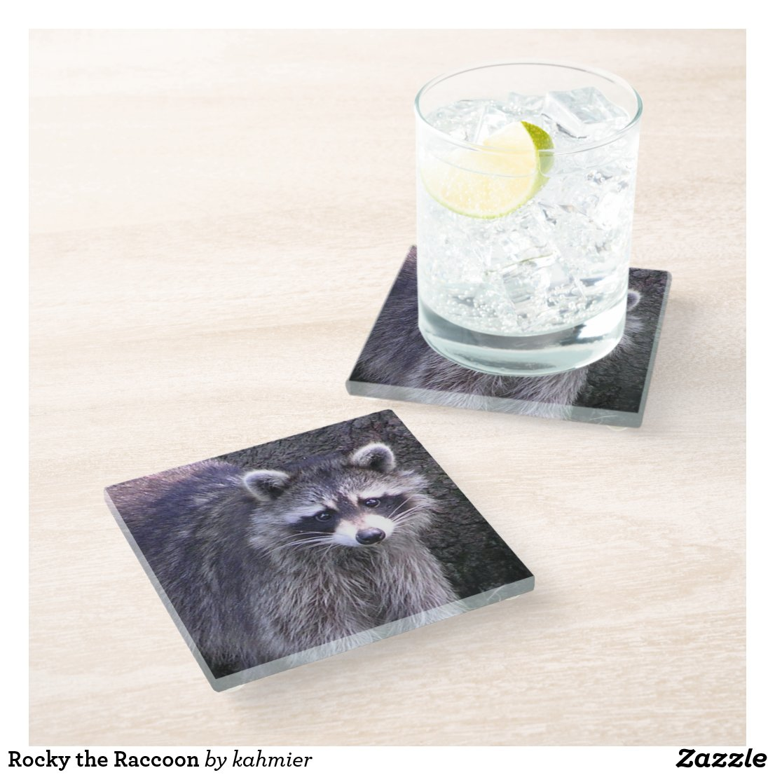 Rocky the Raccoon Glass Coaster