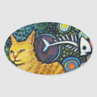 Rocky, The Rock Star Cat Products Oval Sticker