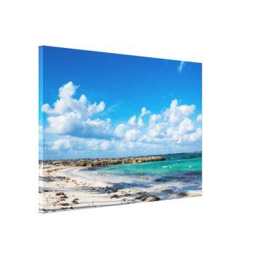 Beach Themed Rocky Tropical Beach&Ocean Canvas Print