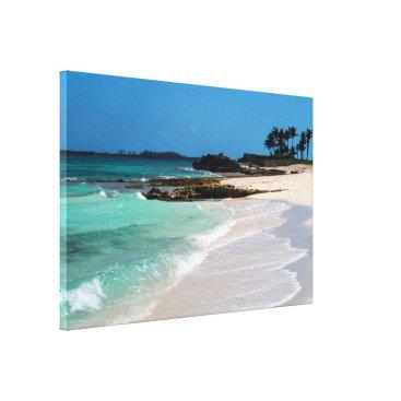 Beach Themed Rocky Tropical Beach&Ocean View Canvas Print