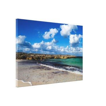 Beach Themed Rocky Tropical Beach View Canvas Print