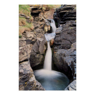 Rocky Valley Waterfall Poster