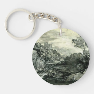 Rocky wooded landscape by Thomas Gainsborough Key Chains