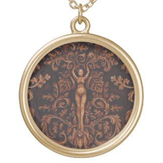 Rococo Goddess Pendant - Lg Goldtone
