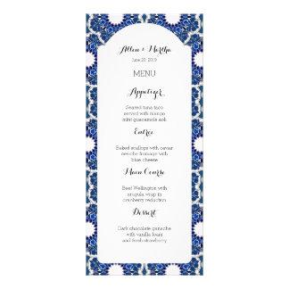 Rococo Indigo Beautiful Blue Wedding Menu